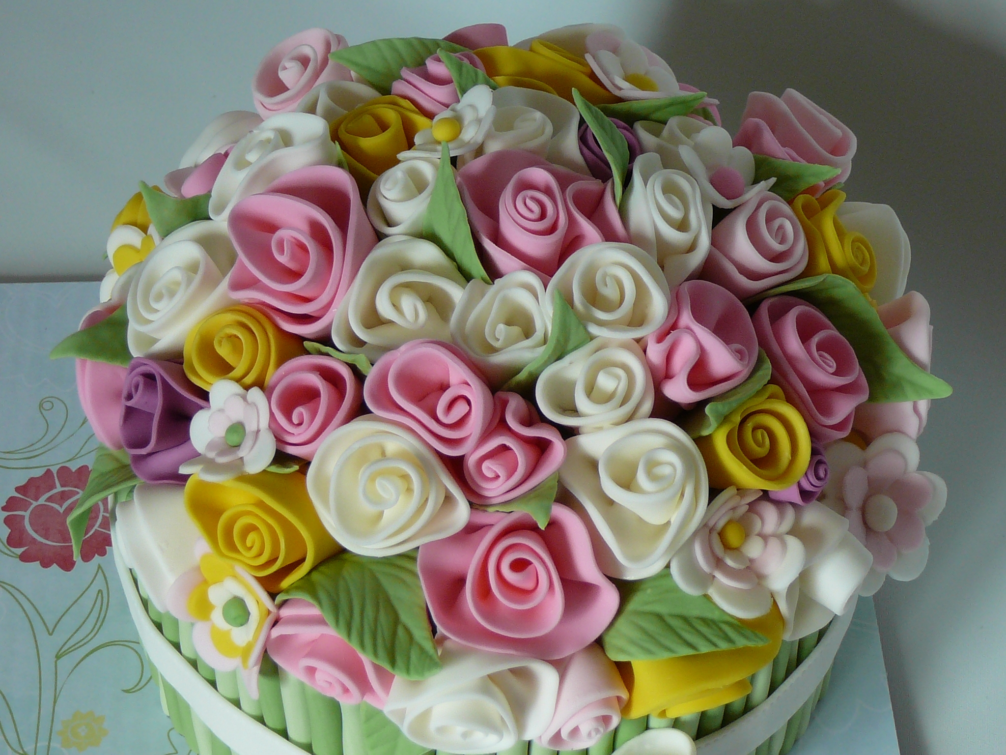 Flower bouquet cake cakecentral this is a lot of flowers and a lot of fondant marble cake with chocolate ganache covered with fondant izmirmasajfo