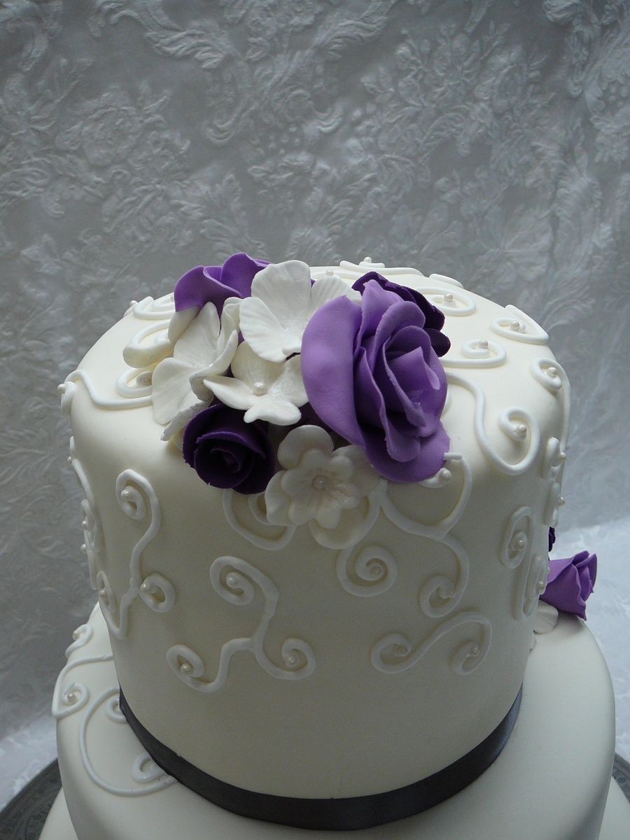 Purple Roses Wedding Cake Cakecentral Com