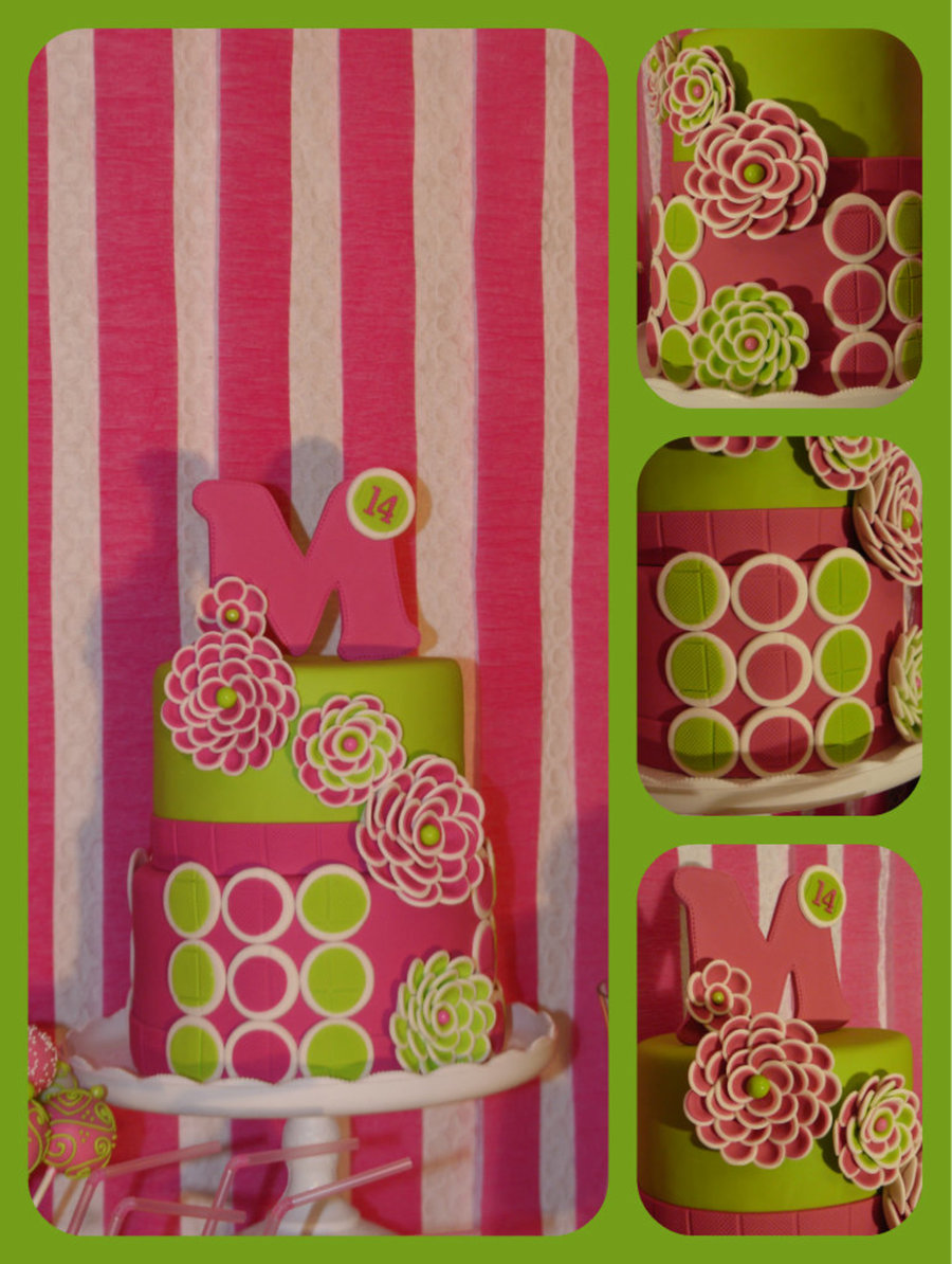 Pink And Green Flower Cake Cakecentral