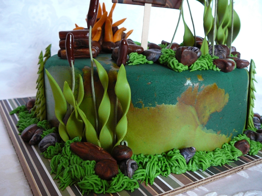 Hunting Scene Cake Decorations : Hunting And Nature Cake - CakeCentral.com