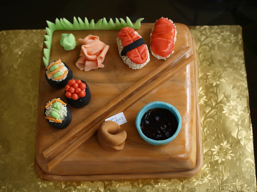 Magnificent Sushi Birthday Cake Cakecentral Com Personalised Birthday Cards Veneteletsinfo