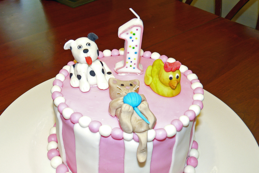 Animal First Birthday Cake CakeCentralcom