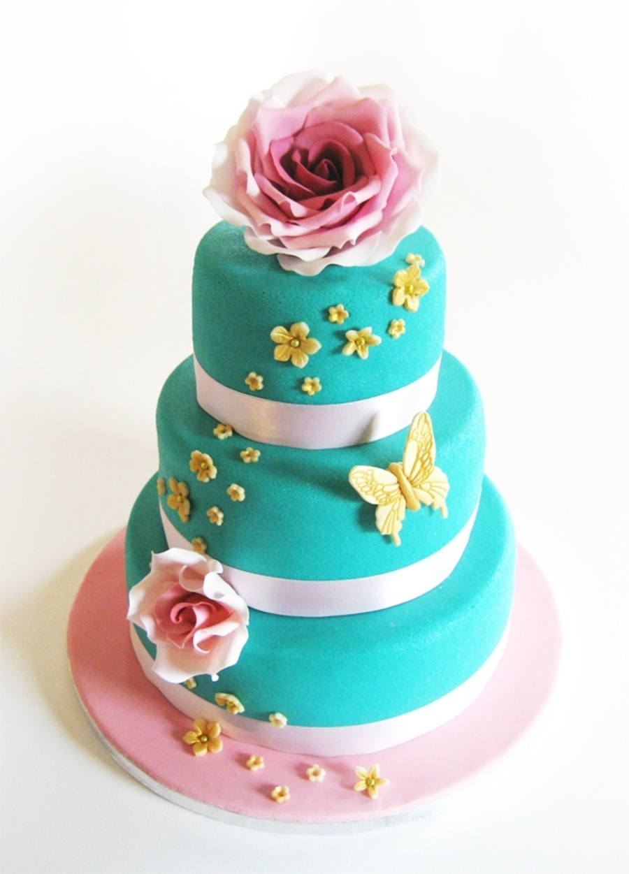 Wedding Cake Blue & Pink on Cake Central