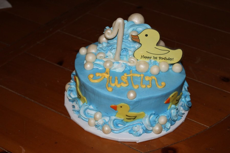 Rubber Ducky First Birthday CakeCentralcom