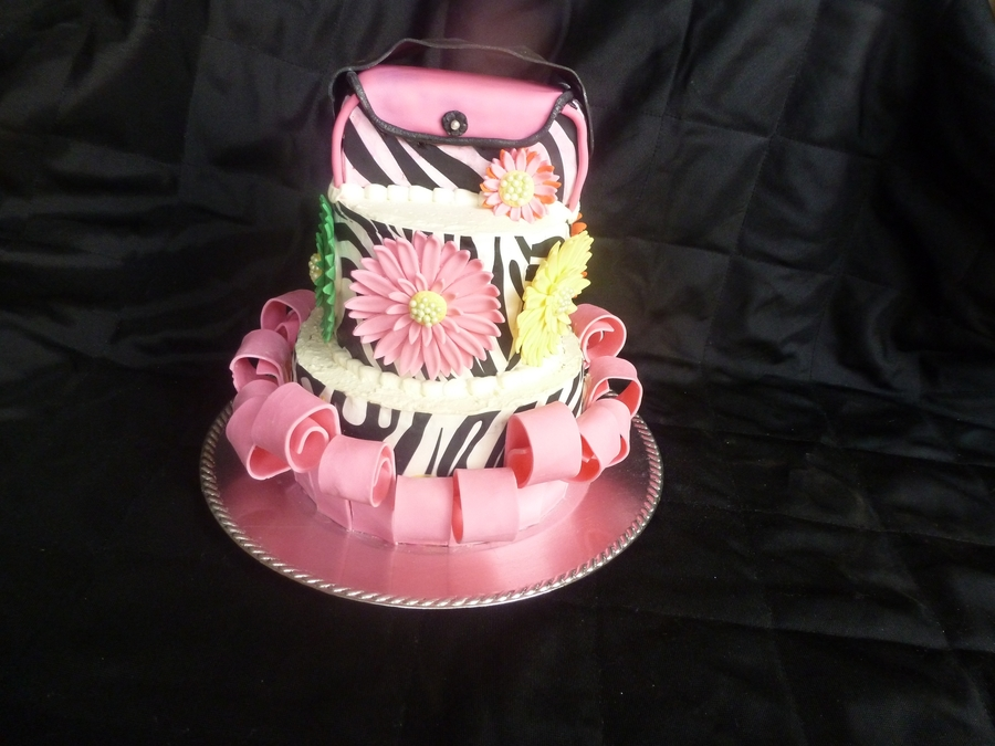 Purse And Flowers And Zebra Print  on Cake Central