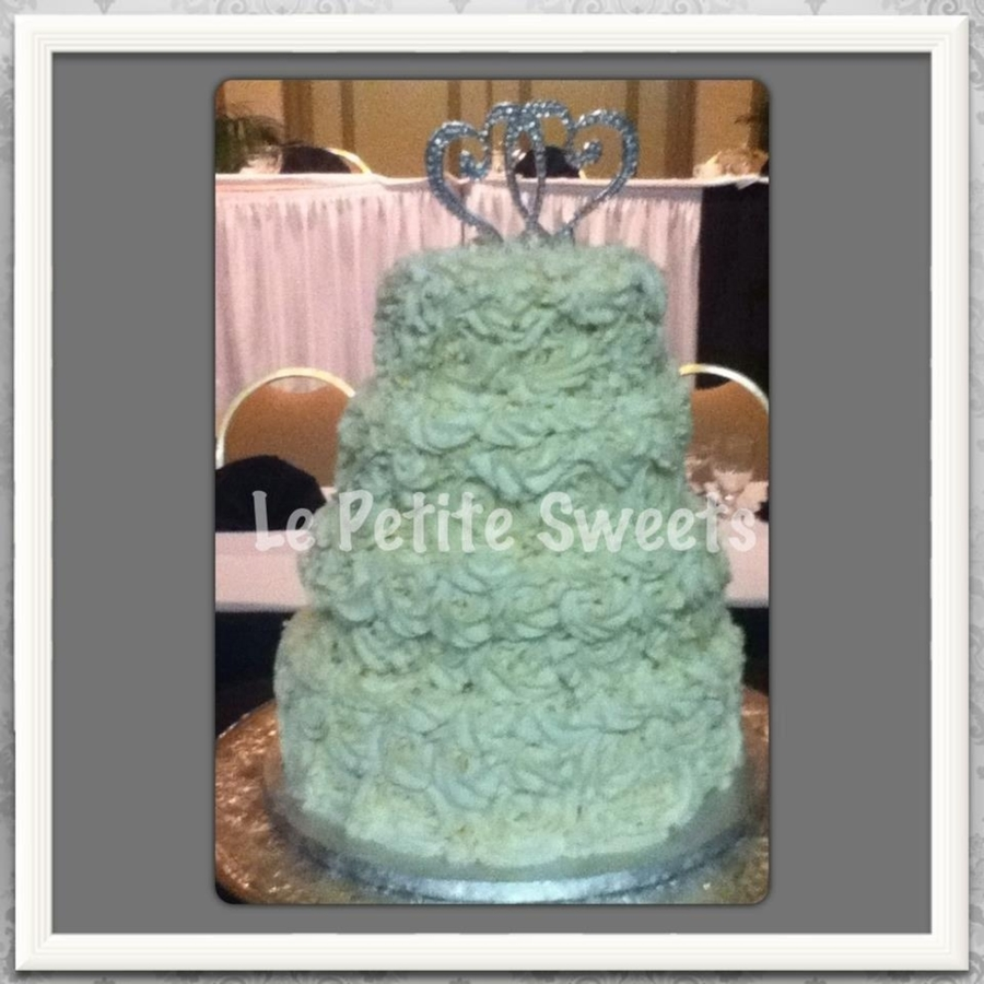 Ribbon Rose Wedding Caek  on Cake Central