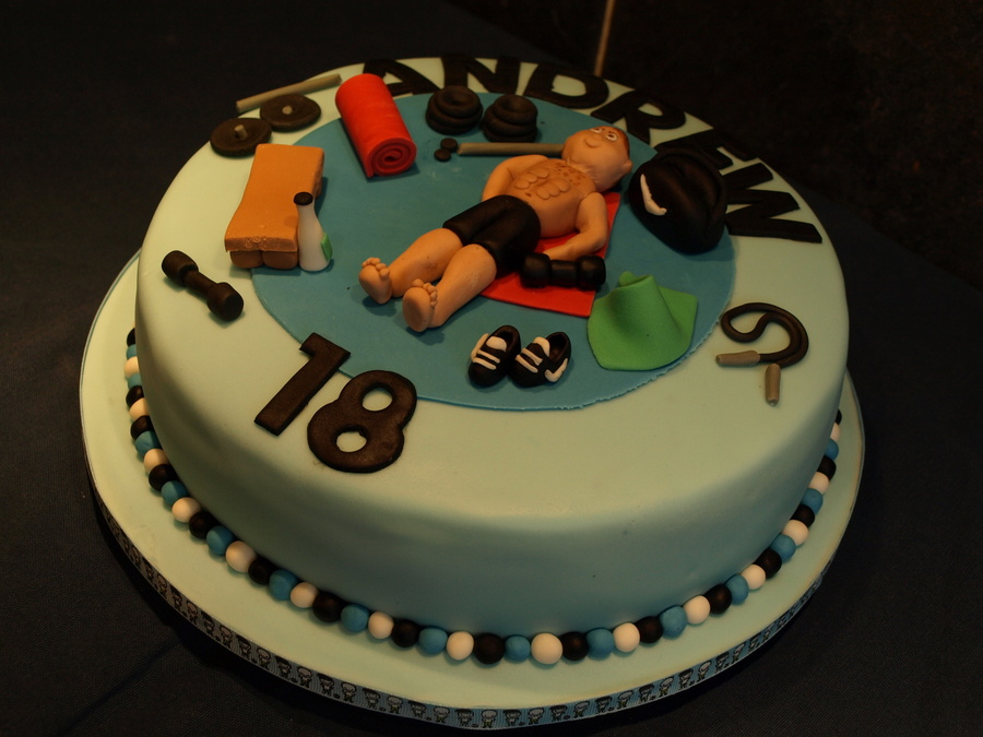 18th cake gym themed for 18th cake decoration