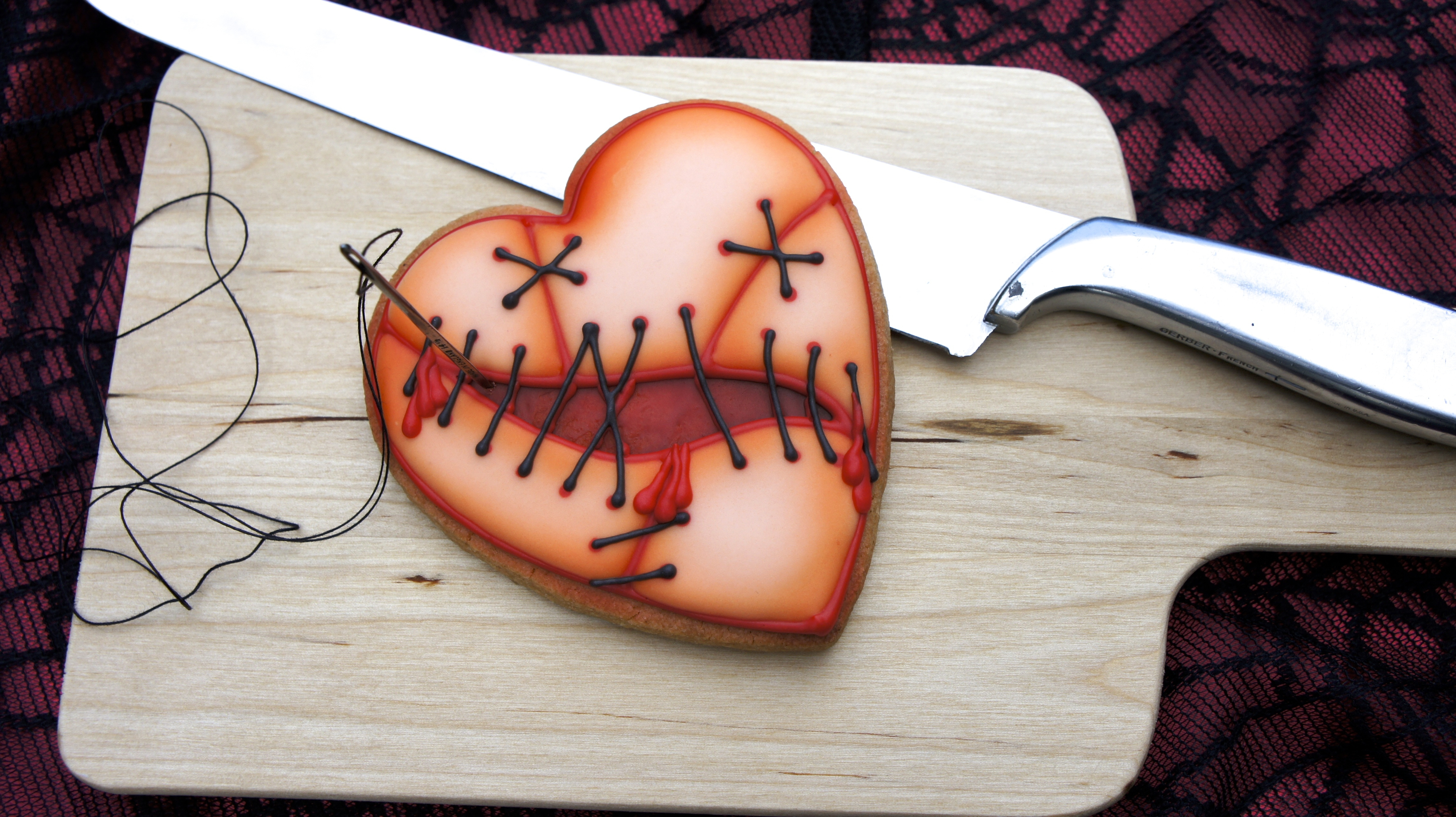 Valentines Cookie For The Broken Hearted Royal Icing With Airbrushed Detail Tutorial Available on Cake Central