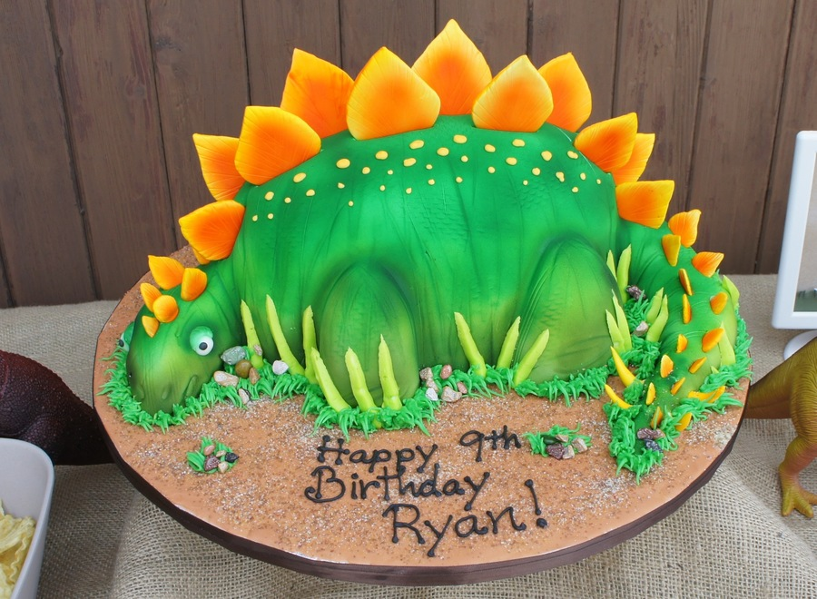 3d stegosaurus dinosaur cake for How to make a dinosaur cake template