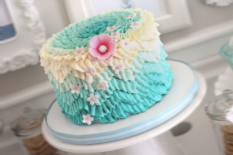 I Managed To Get 3 Trends Onto This Cake The Chevron Pattern Done In Ombre Easily Done With Buttercream Ruffles I Posted How In The Tutoria... on Cake Central