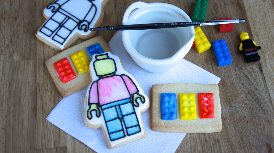 Painting Lego Cookies With Water And A Cookie Paint Pallet This Technique Was Invented By Me And It Is A Huge Hit With The Kids Who Have T... on Cake Central