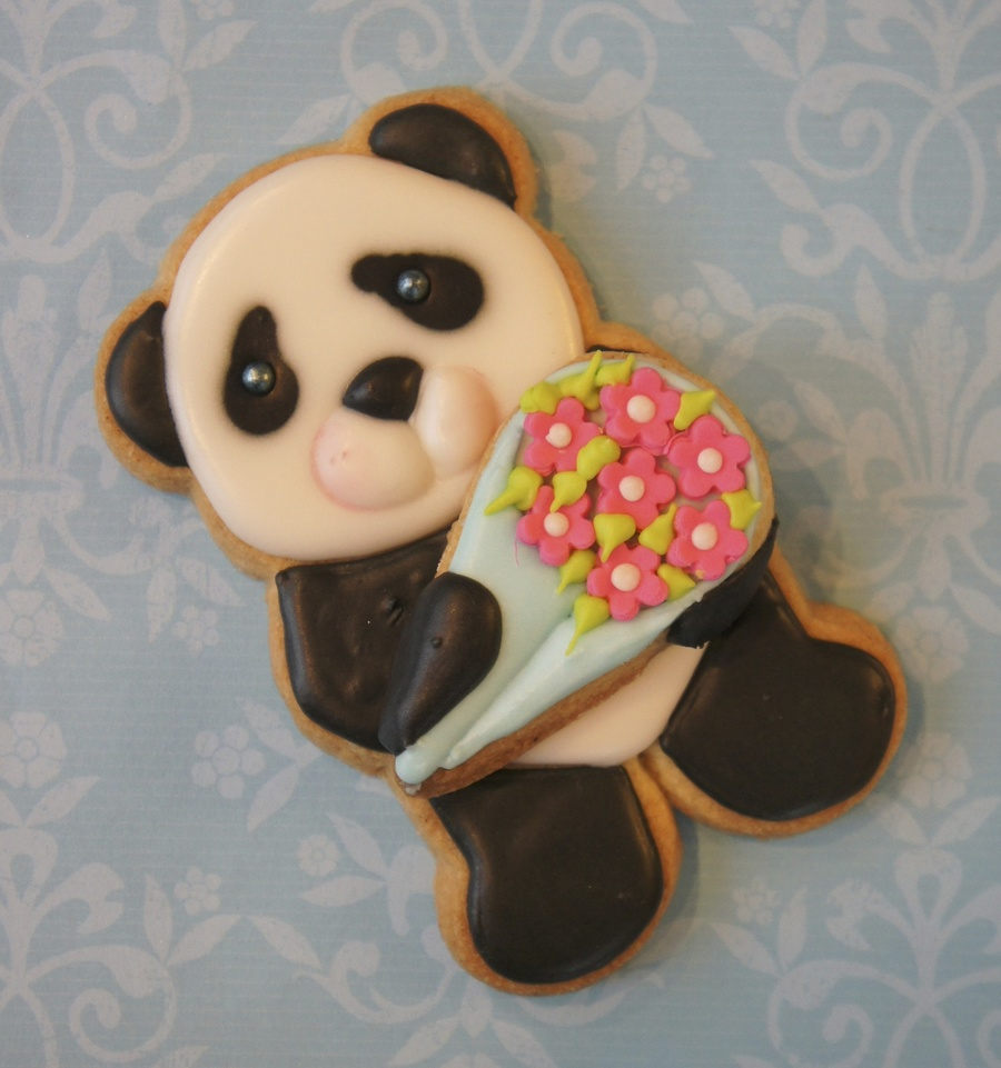 Cute Panda Cookie Done Using The Wilton Bear Cutter Tutorial To This Cookie Available On Yt  on Cake Central