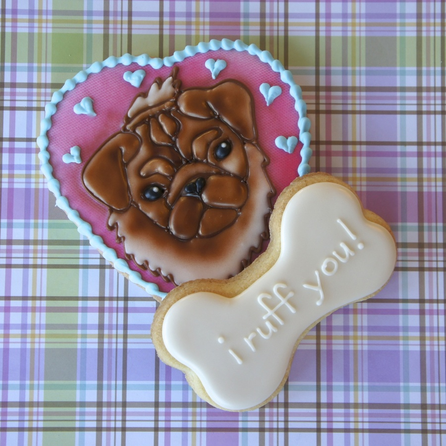 "Cute Dog Cookie For Valentine's Day ""i Ruff You""  on Cake Central"