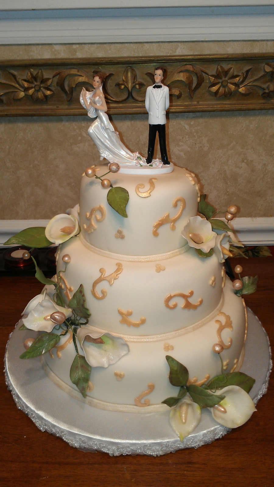 Calla Lilly And Scrolls on Cake Central