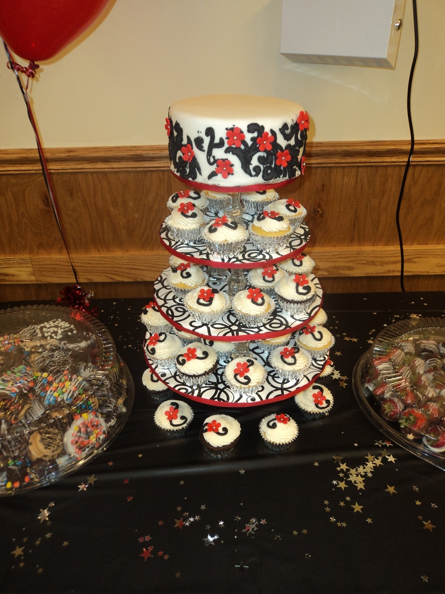 White, Black And Red Cupcake Tower on Cake Central