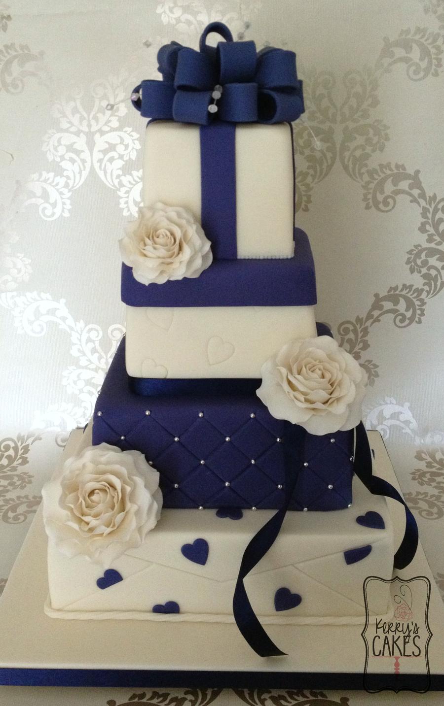 Cake Decorating Gift Box : Navy Blue Gift Box Wedding Cake Logod 2 - CakeCentral.com