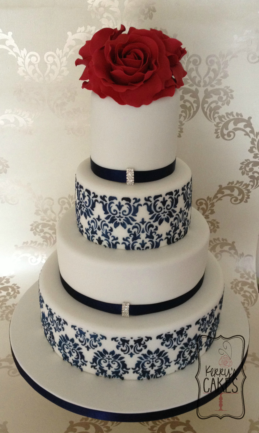 red and navy blue wedding cakes and navy damask wedding cake cakecentral 19083