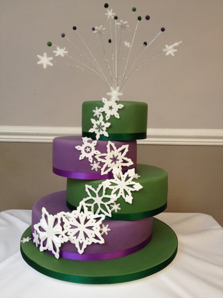 Purple & Green Snowflake Wedding Cake - CakeCentral.com