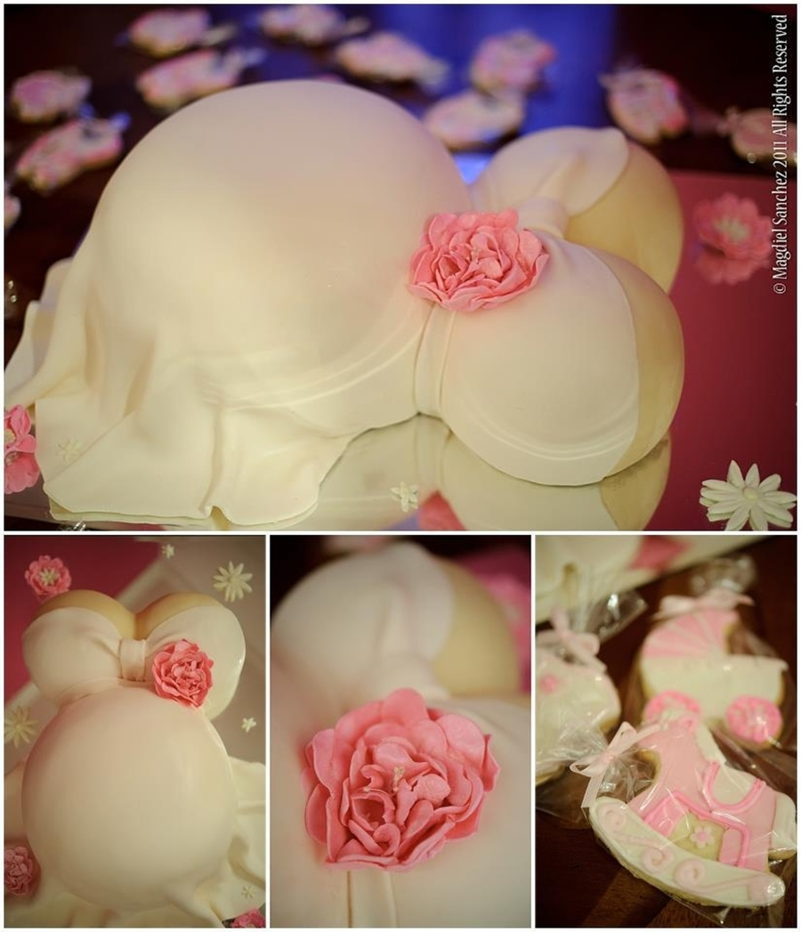 Baby Belly Cake With Butter Cookies In Baby Shower Shapes on Cake Central