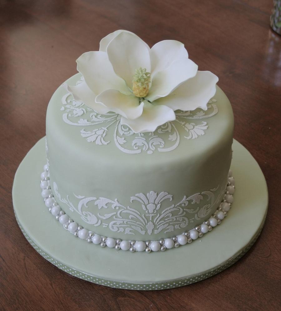 Magnolia bridal shower cake cakecentralcom for Cakes for wedding showers