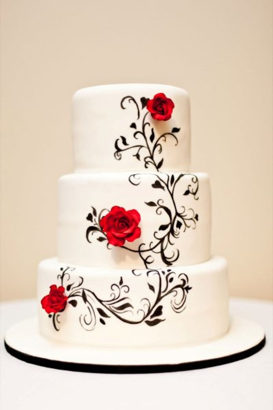 Hand Painted Black And White Wedding Cake on Cake Central