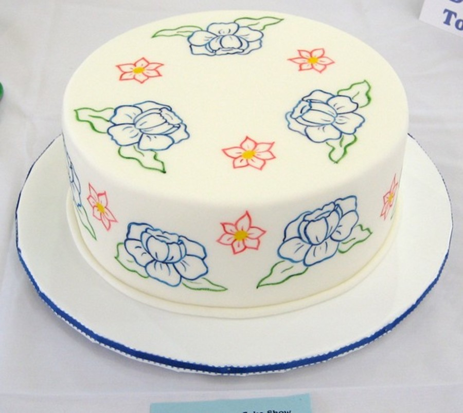Painted Flower Cake on Cake Central