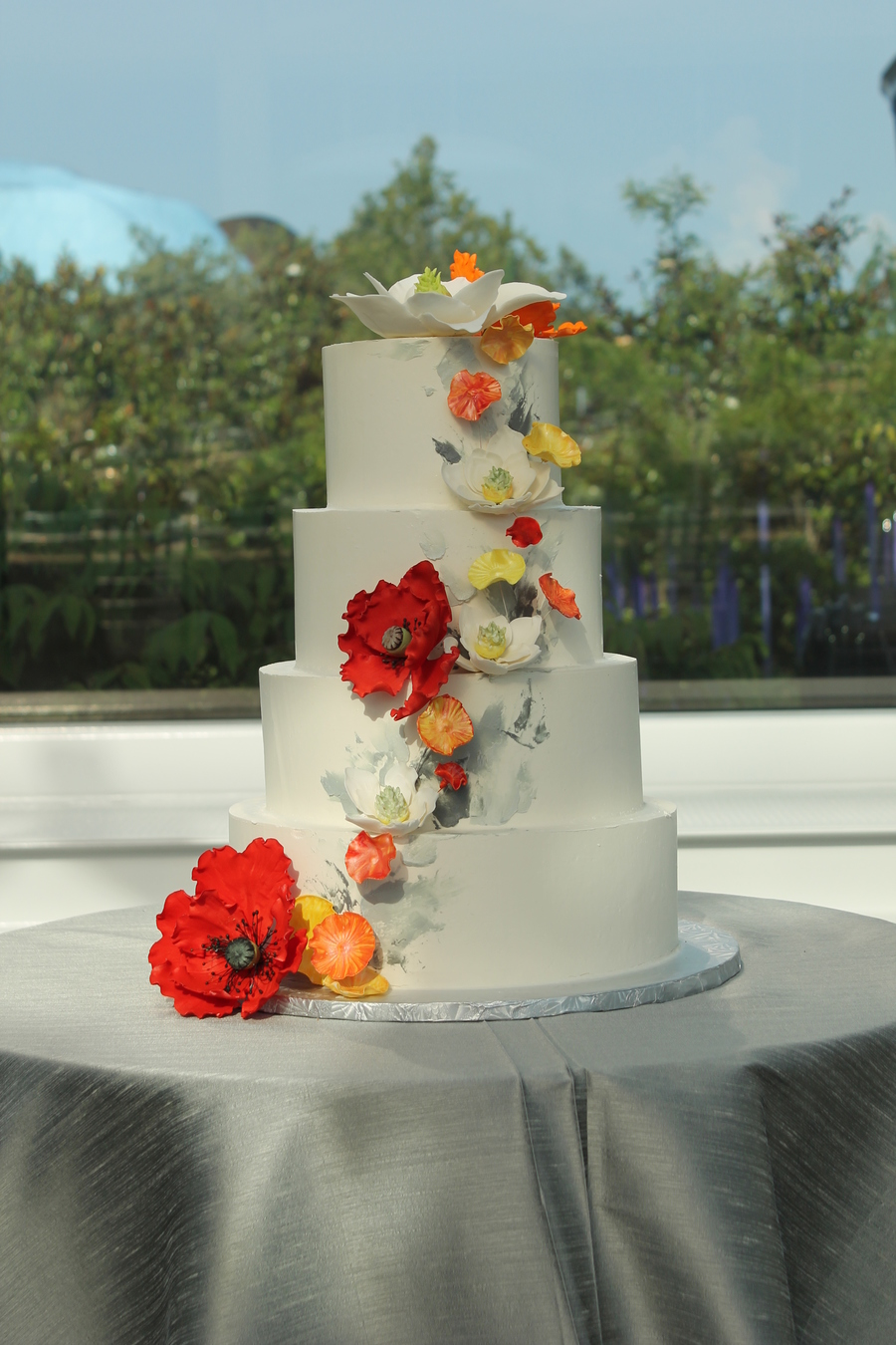 Buttercream Cake With Sugar Flowers For A Modern Look I Used A Palette Knife To Apply Shades Of Grey Buttercream For A Backdrop For The Fl... on Cake Central