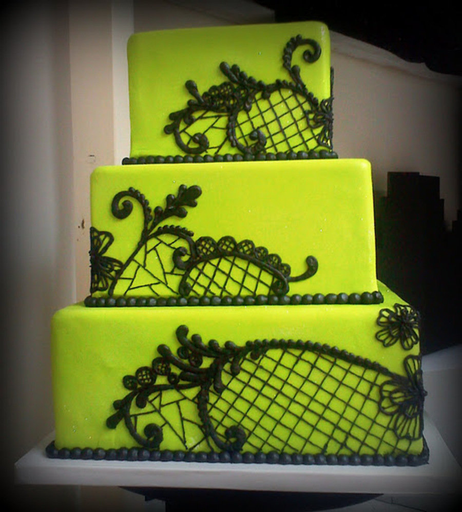 lime green and black wedding cakes lime green amp black lace cakecentral 16893