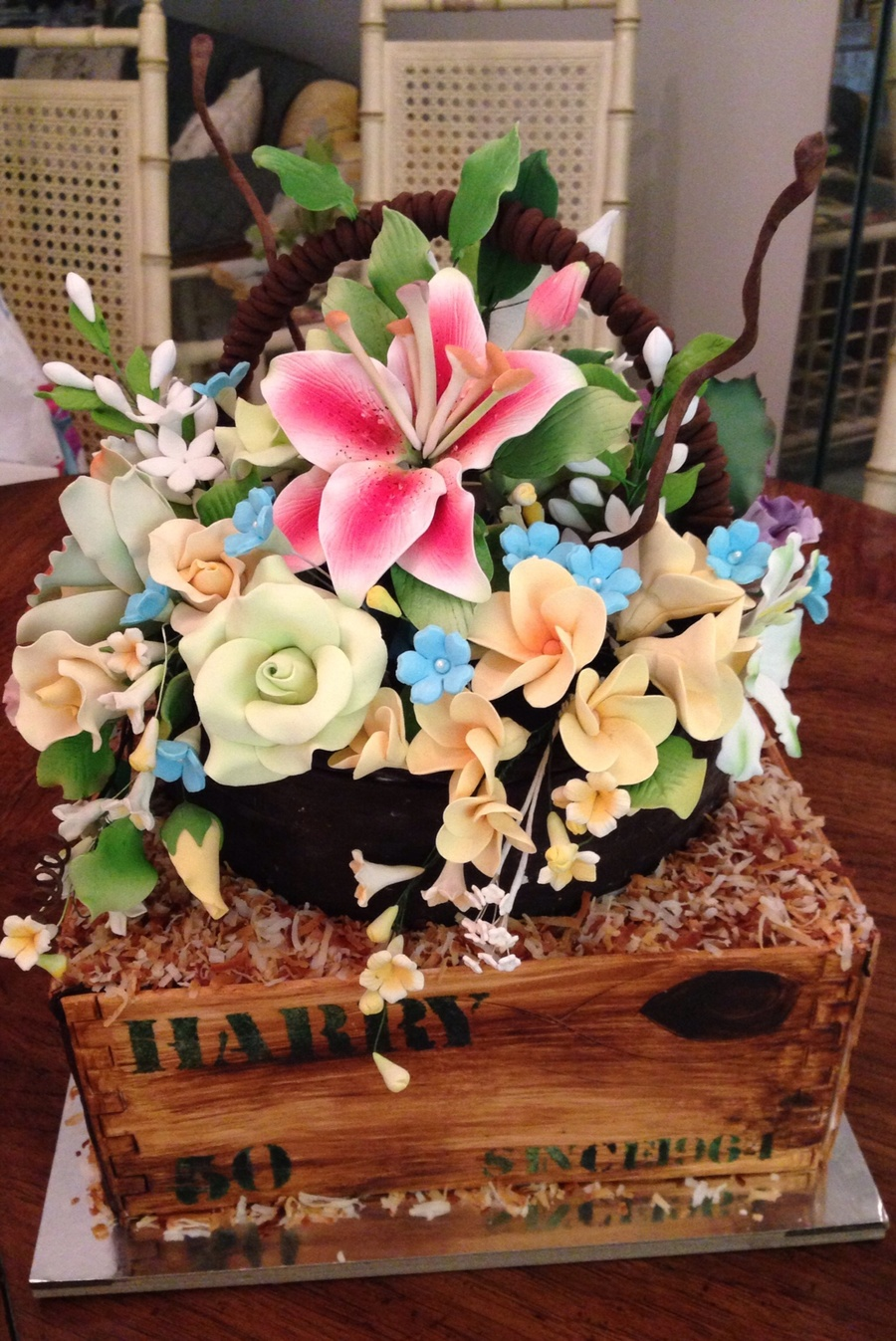 Basket Of Flowers Over A Wood Crate For My Brother The Florist On
