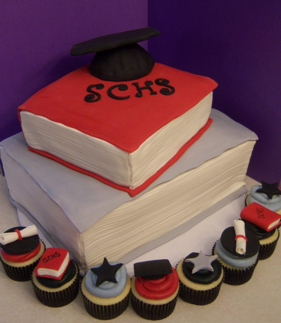 Graduation Cake And Cupcakes... on Cake Central