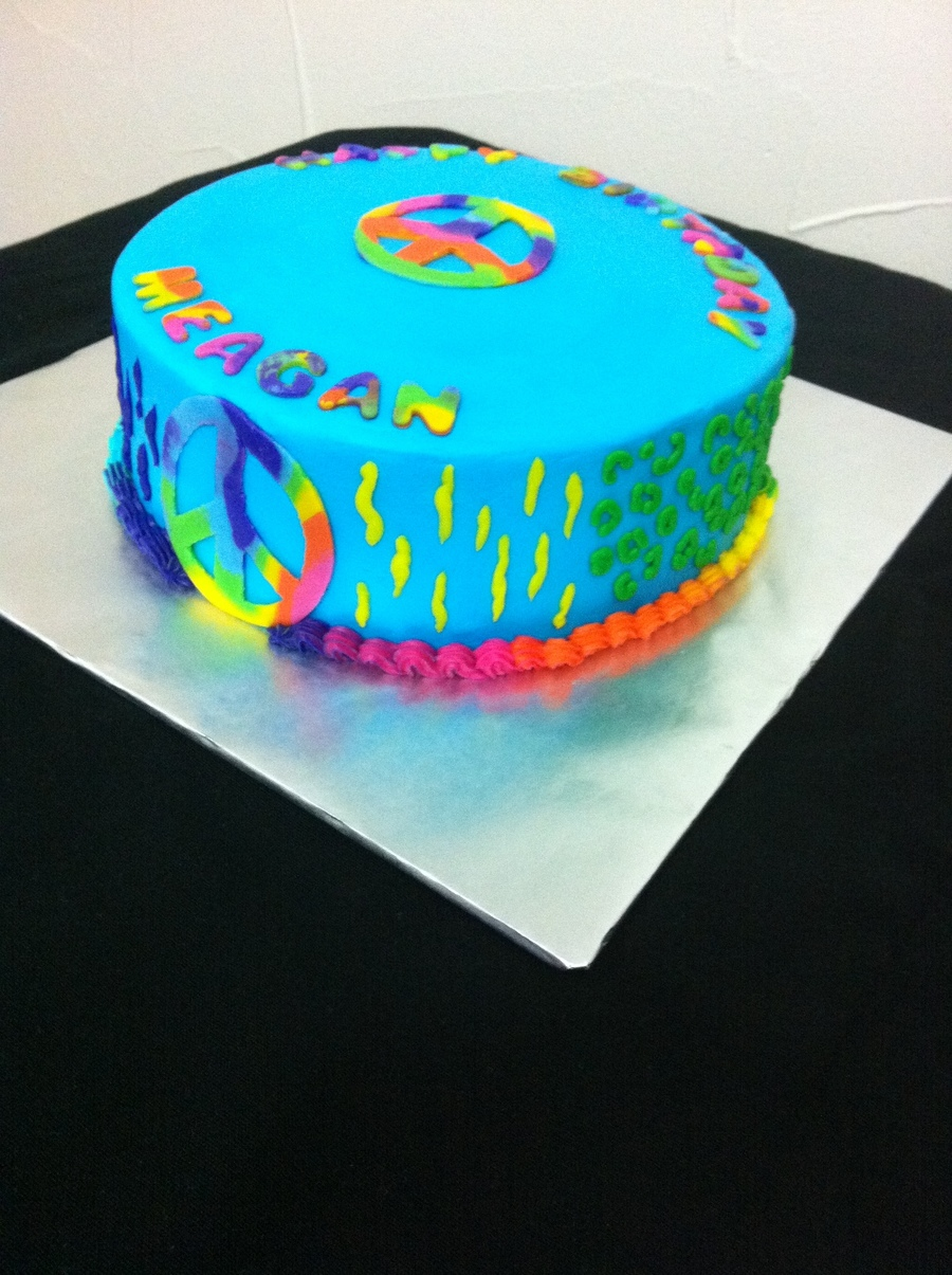 Tie Dye Peace Sign Cake Cakecentral Com