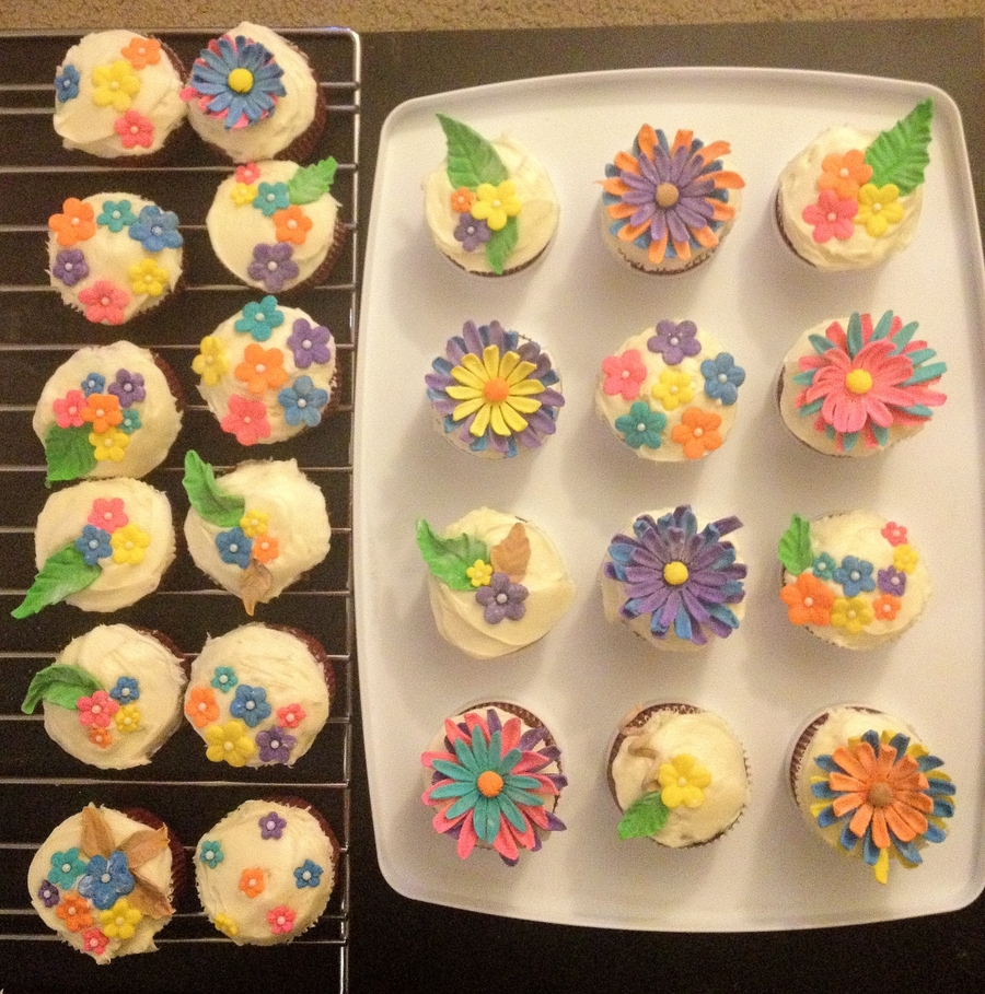 Colorful Flower Cupcakes on Cake Central