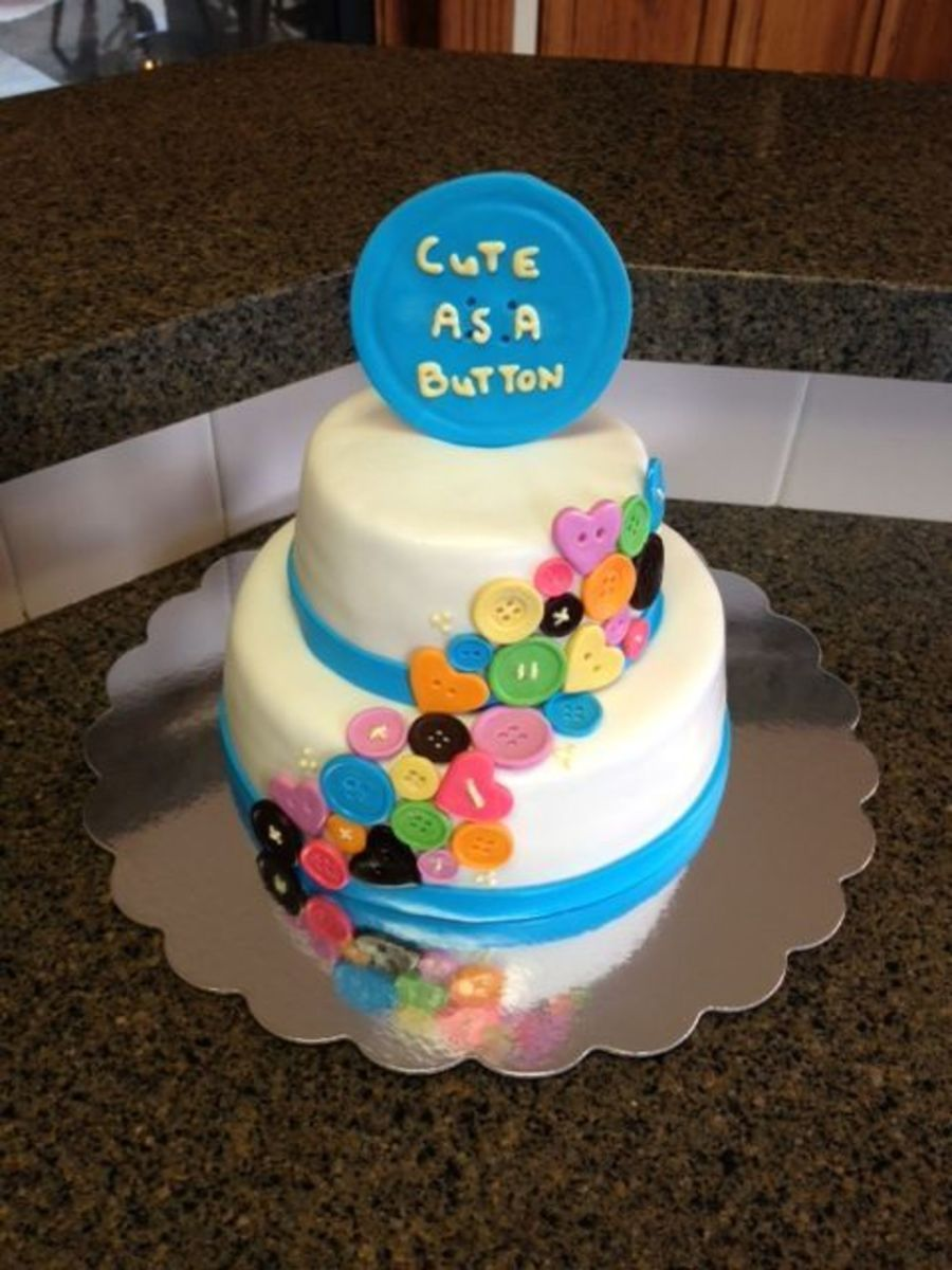 Cute As A Button Baby Shower Cake on Cake Central