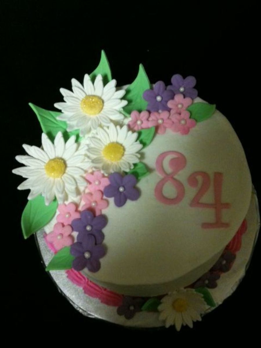 84th Birthday Cake With Flowers Cakecentral Com