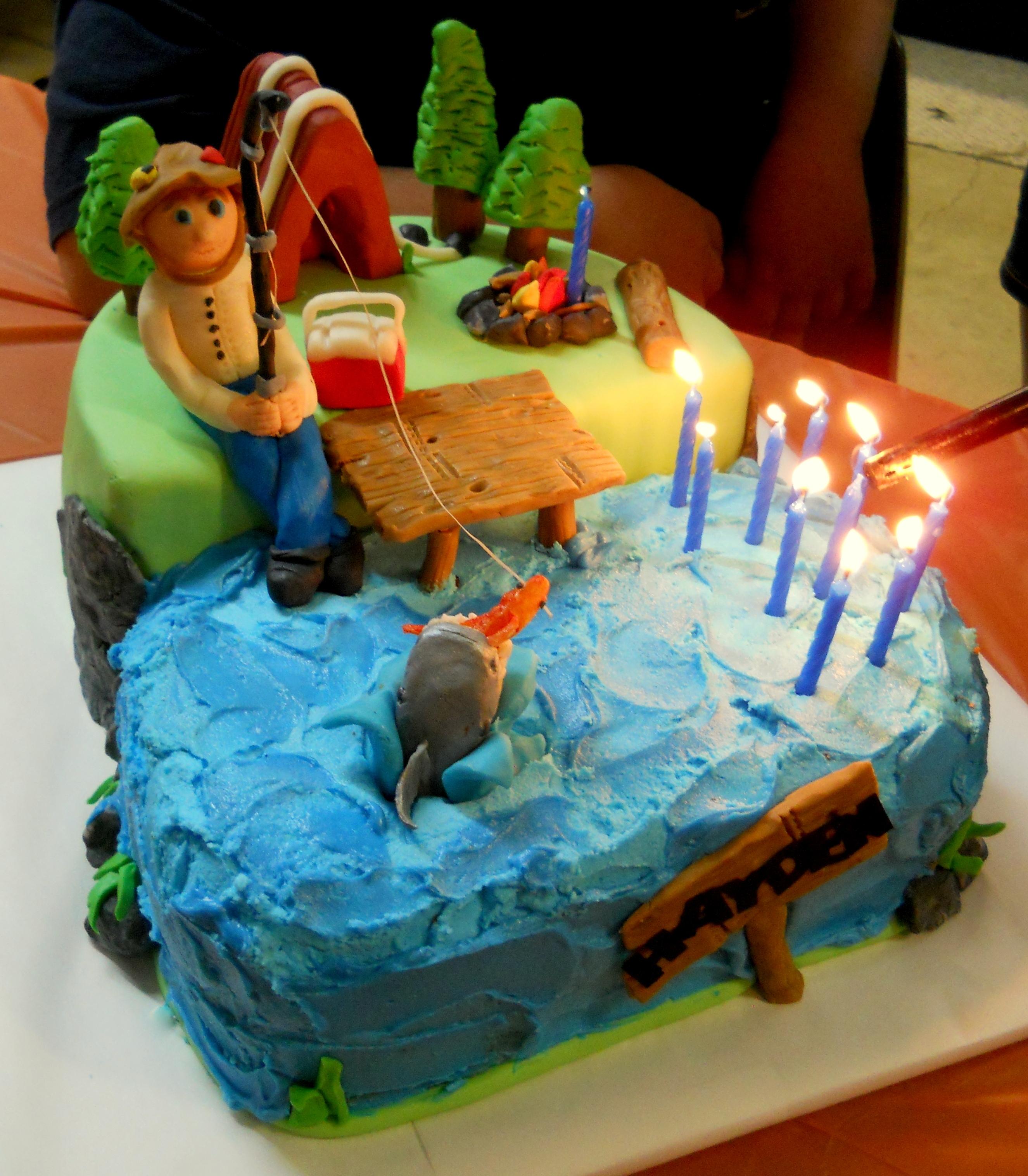 Fishing themed birthday cake for Fishing cake decorations