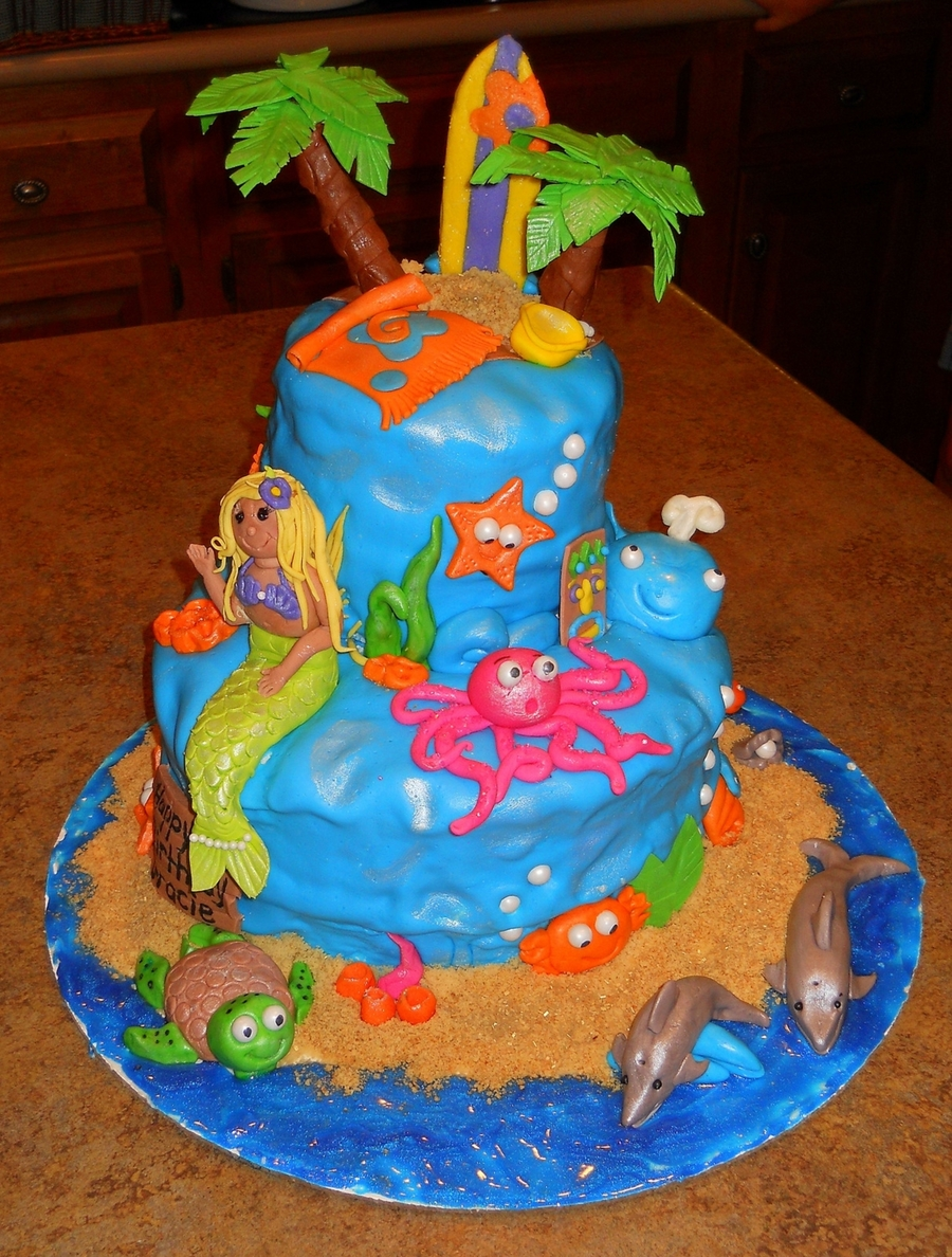 Incredible Ocean Theme Birthday Cake Cakecentral Com Funny Birthday Cards Online Aeocydamsfinfo