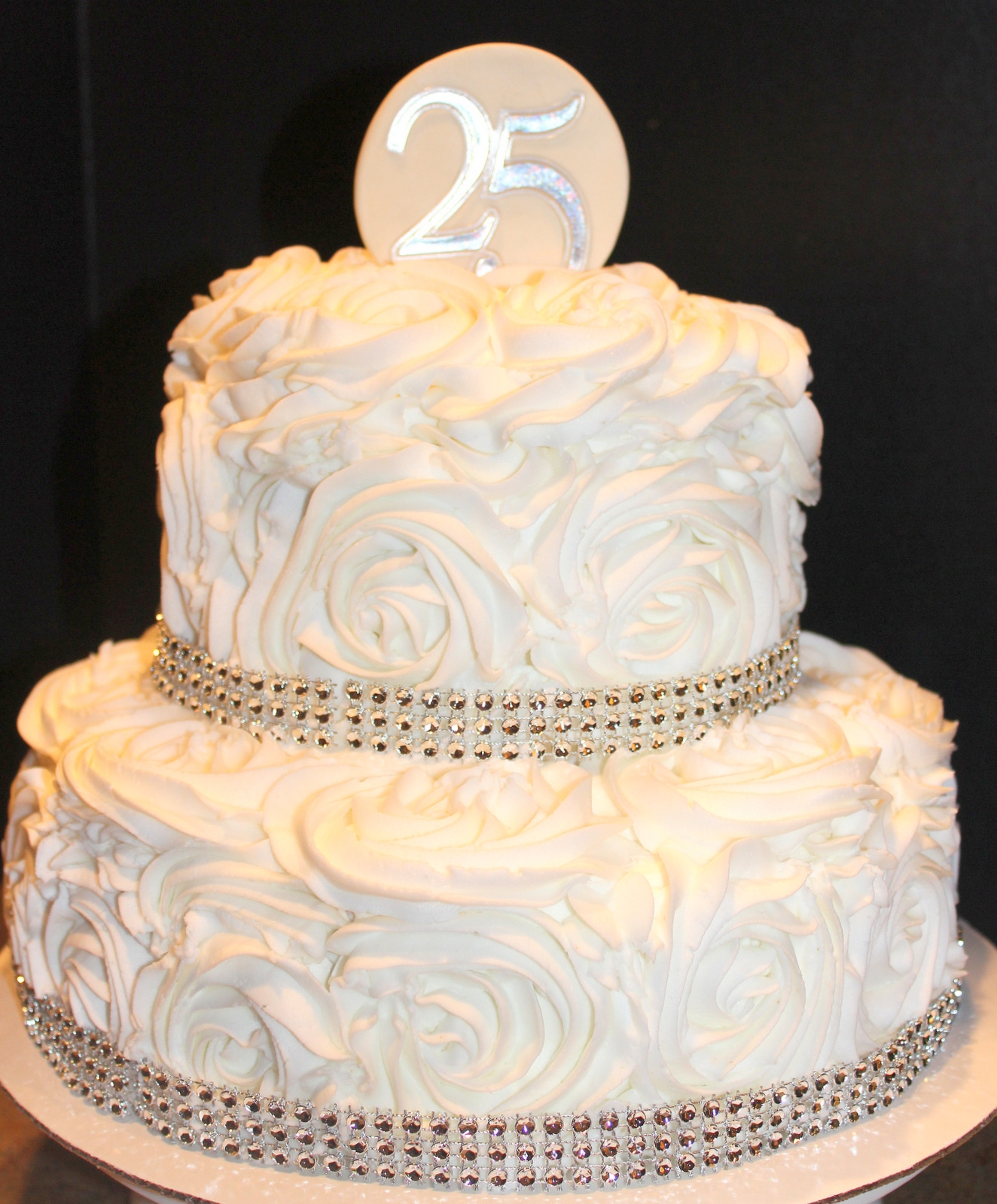25Th Wedding Anniversary Rosette Cake CakeCentral