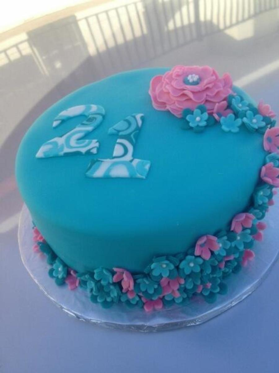 Teal And Pink 21st Birthday Cake Cakecentral Com