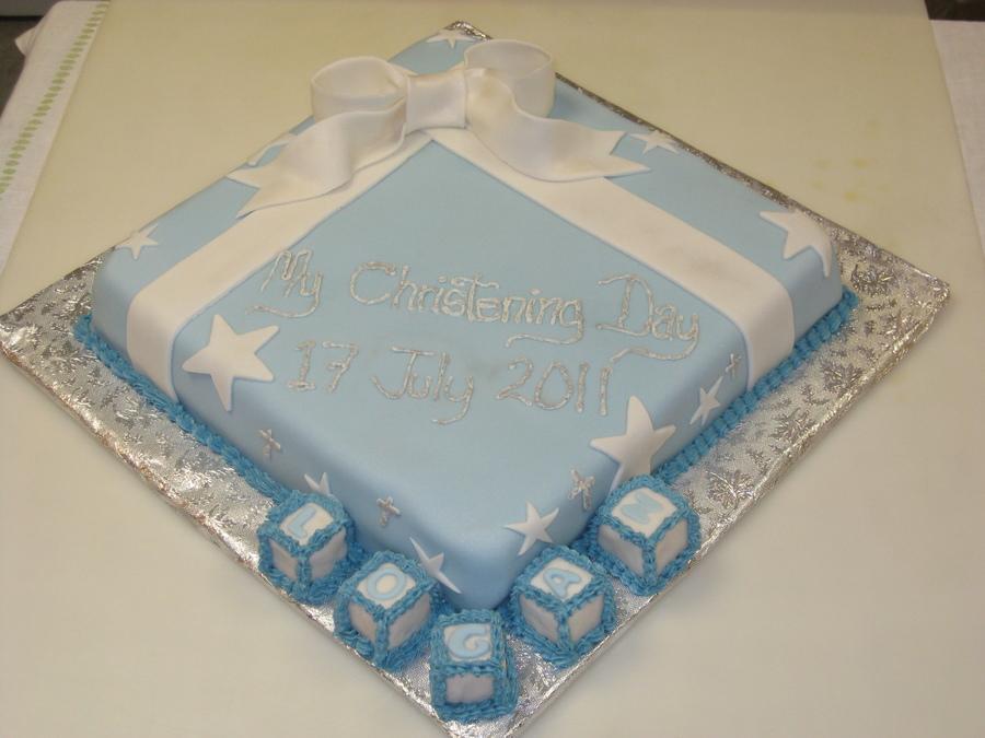 Cake Decorating Letter Blocks : Boy Christening Cake - CakeCentral.com
