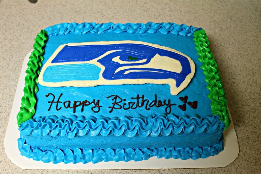 Seattle Seahawks Themed Half Sheet Birthday Cake