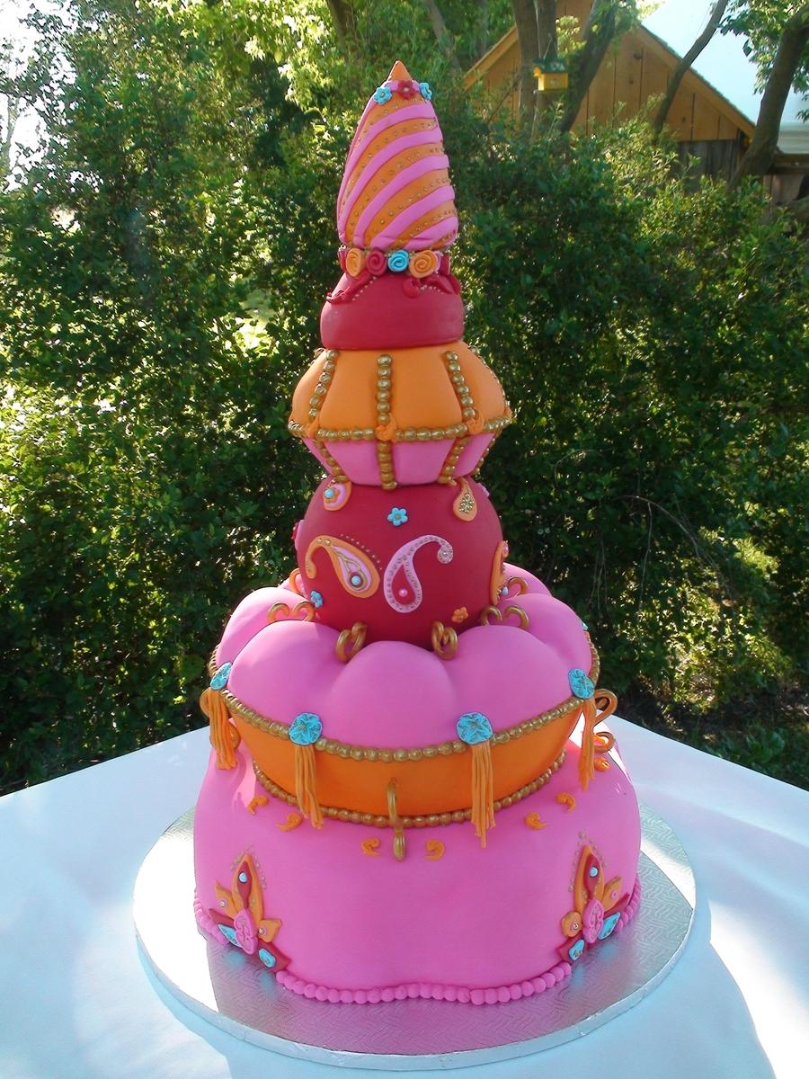 Bollywood Pink, Orange, Red And Turquoise  on Cake Central