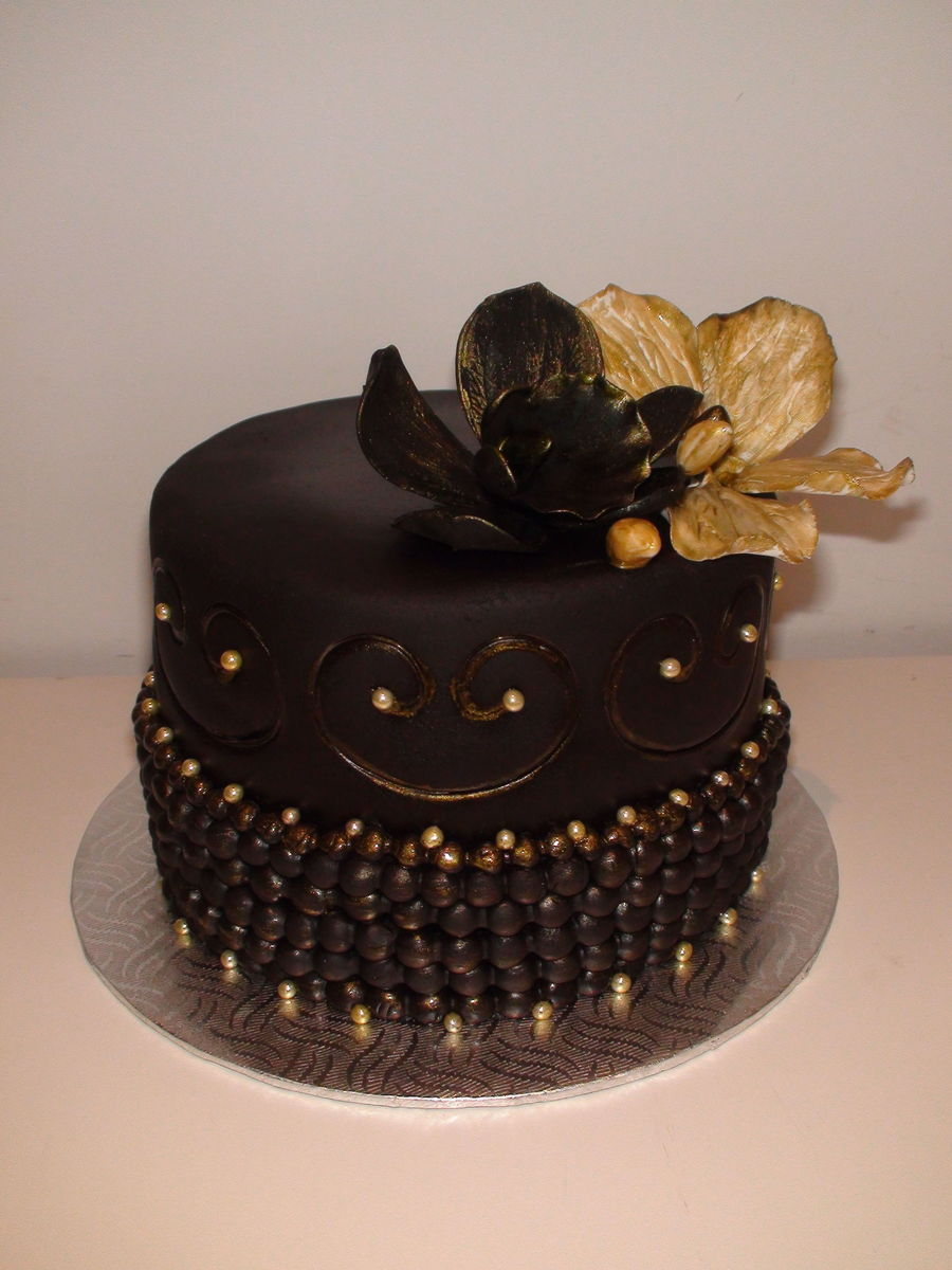 Black & Gold Birthday Cake on Cake Central