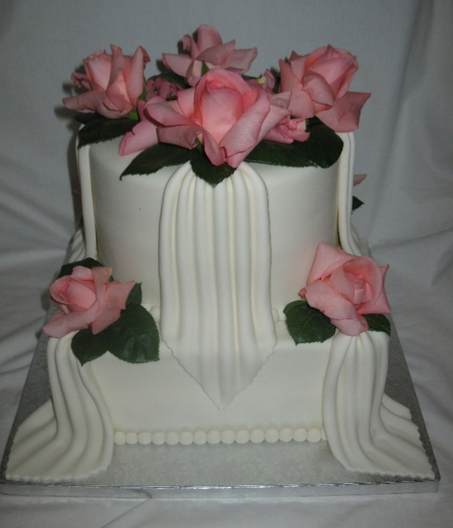 Real Roses And Drapes on Cake Central