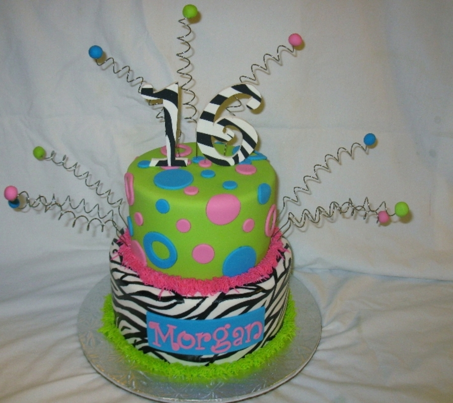 Sweet 16 Zebra & Circles on Cake Central