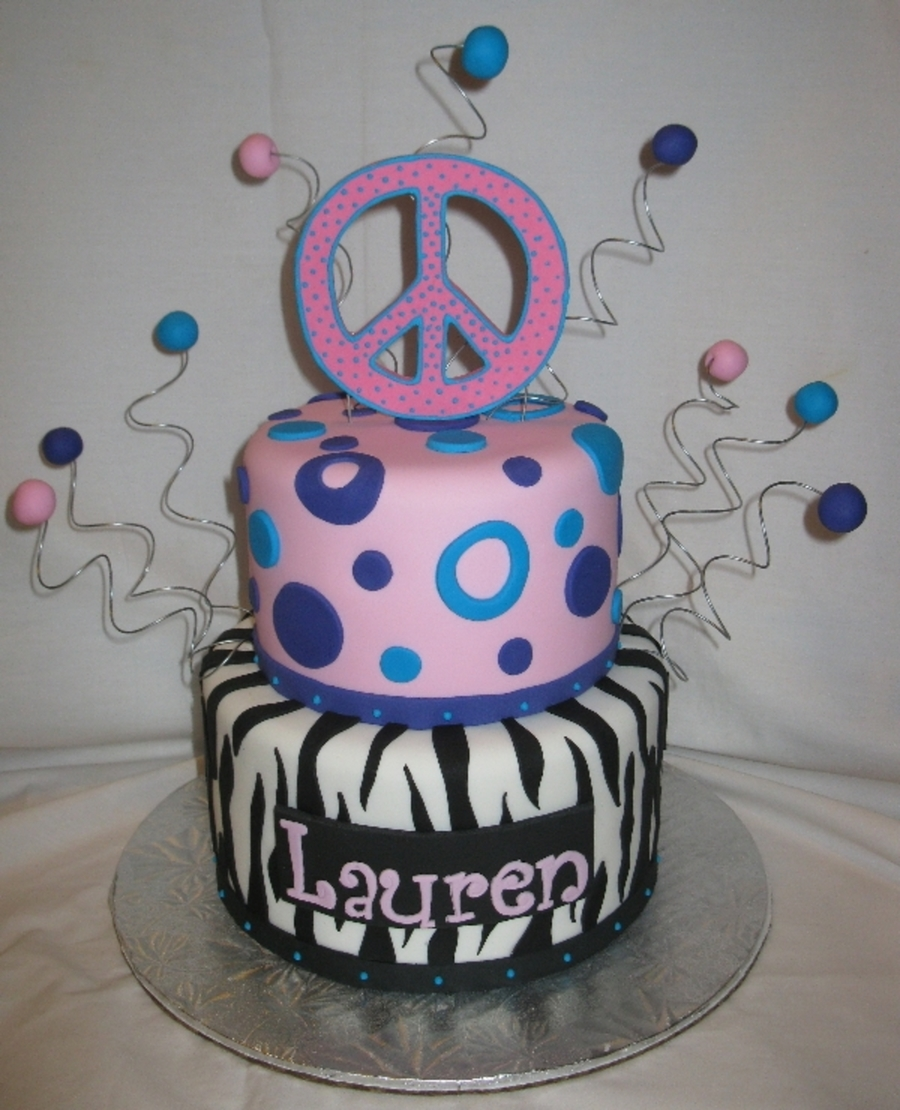 Zebra Peace Circles on Cake Central