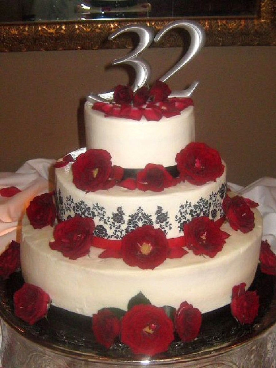 Damask Anniversary Cake on Cake Central