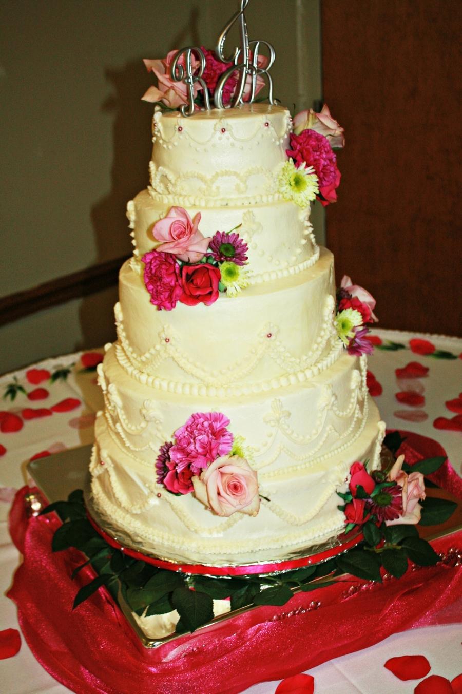 5-Tier Wedding Cake With Fuschia Flowers - CakeCentral.com