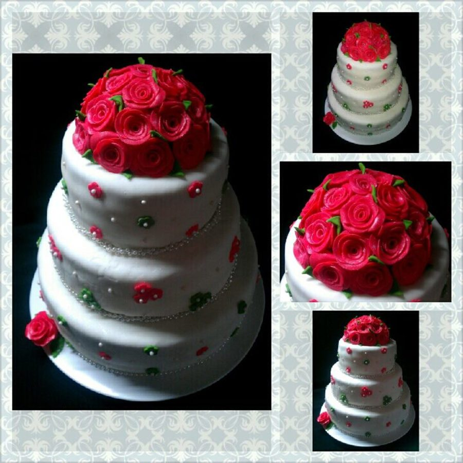 Christmas Rose Wedding Cake  on Cake Central