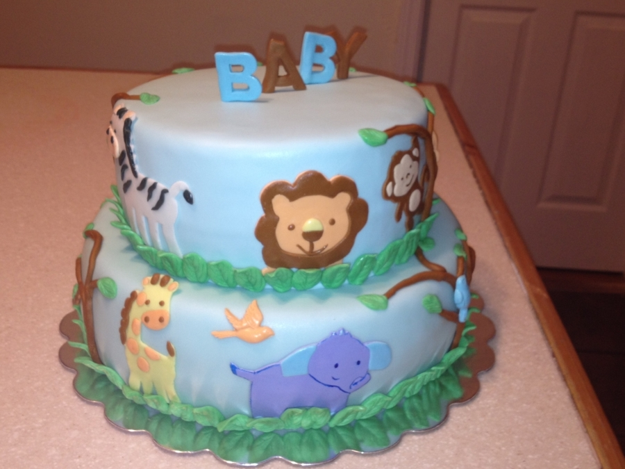 jungle themed baby shower cake on cake central