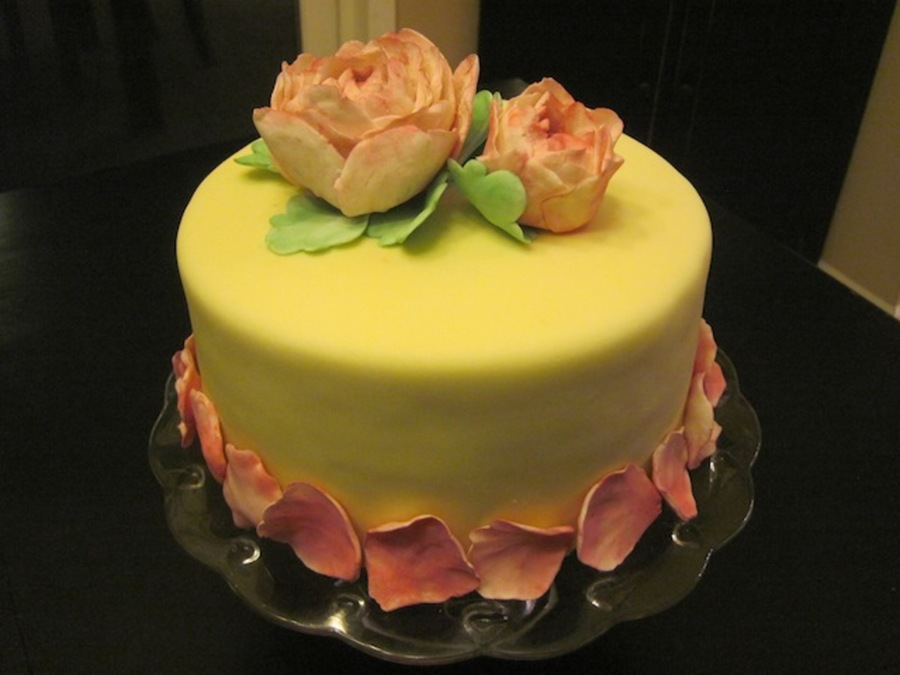Vintage Or Shabby Chic Pink Peonies  on Cake Central